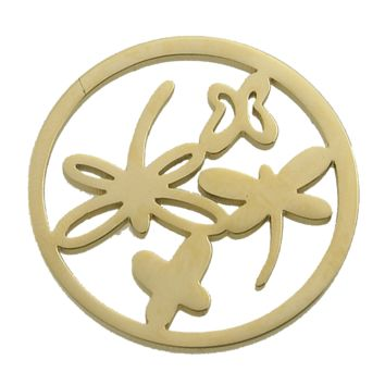 Stainless Steel Coin Disc Gold Plated Dragonflies 33mm
