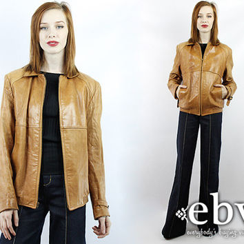 Vintage 70s Soft Brown Leather Jacket Leather Coat 70s Leather Jacket Worn in Leather Jacket Distressed Leather Jacket Brown Leather Jacket