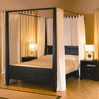 King size Modern Four Posts Canopy Bed in Dark Brown Wood Finish