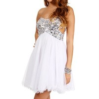 Sammie-White/Silver Sequin Strapless Dress