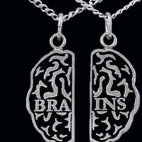 White Bronze Brains Friendship Necklaces - Zombie Jewelry ZOMB-11 WhtBronz
