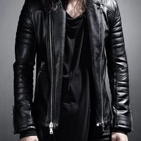 Leather jacket - Block - Jackets - Men - Modekungen