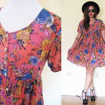 84422cab922 Vintage pink floral flower hippie boho bohemian india indian festival gypsy  babydoll button down ruffle dress