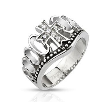 Multi CZ Paved Cross Crown Cast Ring Stainless Steel