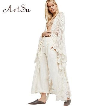 ArtSu Boho Women Solid Lace Long Dress Sexy Transparant Cardigan Beach Party Maxi Dresses Elegant Robes Vestidos Mujer ASDR30263