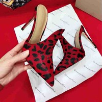 Gianvito Rossi Horse Hair Surface Shoes 105mm Stiletto Heel Burgundy Leopard Casual Women Shoe