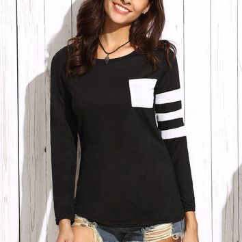 Varsity Striped Tee With Patch Pocket