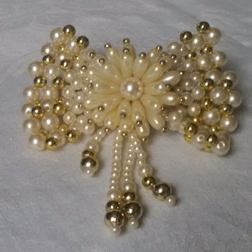 Vintage faux pearl and beads wedding hair clip barette
