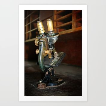 Old Microscope Art Print by Henrik Lehnerer