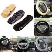 High Density Thickened Car Fur Steering Wheel Cover Universal/O SHI CAR Soft Warm Plush Winter Steering-Wheel Cover Car-styling