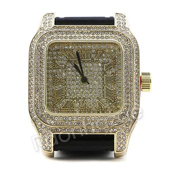Men Iced Out Simulate Diamond Gold Silver Plated Hip Hop Black Rubber Watch 27BK
