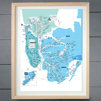 New York  City Subway Map ART PRINT (Labeled) - shades of blue (various sizes available -  11x14 - 20x30 inches)