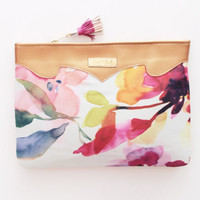 MIDSUMMER 2 / Floral silk & light gold leather floral clutch bag - Ready to Ship