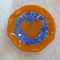 Heart Ring Dish, Glass Jewelry Dish, Jewelry Holder, Ring Plate - Team Spirit - 289 -4