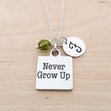 Never Grow Up Necklace - Peter Pan Necklace - Personalized Initial Necklace - Sterling Silver Necklace - Swarovski Birthstone Necklace