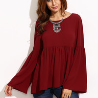 Burgundy Bell Sleeve Cutout Back Babydoll Blouse