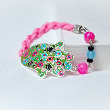 OOAK Pink Green Blue Floral Hand of Fatima Guardian by Myvera