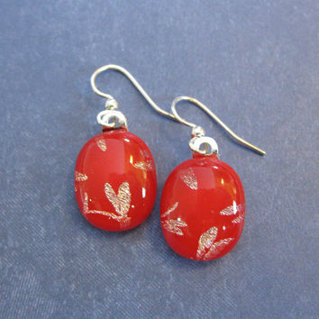 Red Dichroic Earings, Dragonfly Dangle Earrings, Fused Glass Jewelry - Alexis - 1997 -3