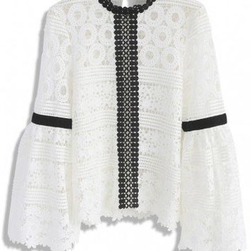 Amiable Blossoms Crochet Top with Bell Sleeves