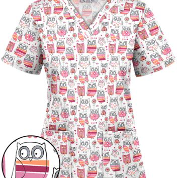 UA Summer Hoot Black Print Scrub Top, Owl Print Scrubs