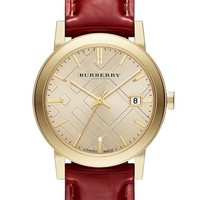 Burberry Check Stamped Round Leather Strap Watch, 34mm