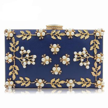 Women Flower Bag Ladies Clutches Party Bags Female Beaded Wedding Clutch Purses