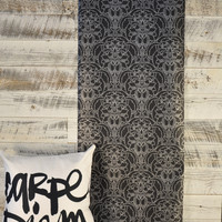 Craftsman Style Silver on Black Wallpaper BW28710