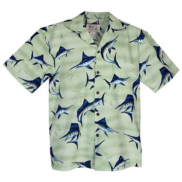 Marlin Lime Cotton Hawaiian Shirt