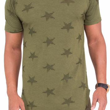 """Ripped Stars"" Distressed Long Length Extended Tee (Olive)"