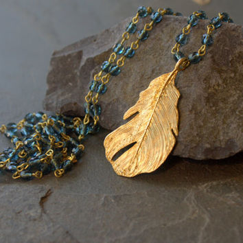 Teal Blue Long Necklace,  Denim Blue, Teal Bead, Long Beaded Pendant Necklace, Gold Feather Pendant, Rosary Style, Boho Jewelry, Bohemian