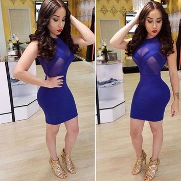 Women Sexy Summer Bandage Bodycon Sheer Evening Party Cocktail Short Mini Dress