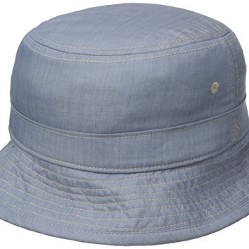 Original Penguin Men's Chambray Bucket Hat, Blue Fog, Small-Medium