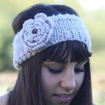 Headband - Large flower, Tan, Ivory, Boho, Wood Beads  , Knitted ,  Knit  ,infinity,  Button, Wide Headband, Turban, Christmas Gift
