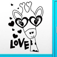 Wall Sticker Giraffe in Glasses With Hearts Cool Romantic Bedroom Decor Unique Gift (z1435)