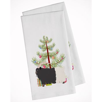 Welsh Black-Necked Goat Christmas White Kitchen Towel Set of 2 BB9254WTKT