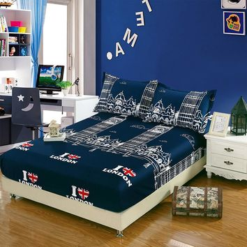 Printed I Love London Blue Sheet Pillowcase Sets