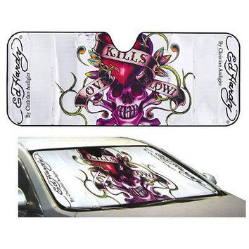 Licensed Official Ed Hardy Love Kill Slowly Car Truck Front Window Windshield SunShade Standard Sz