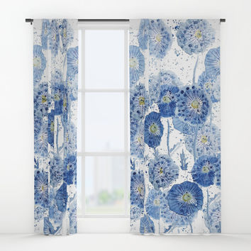 blue indigo dandelion pattern watercolor Window Curtains by Color and Color
