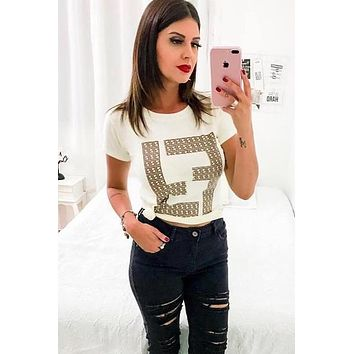 FENDI Summer Fashion Women Casual Double F Letter Print Short Sleeve Top T-Shirt White