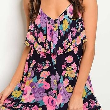 Navy floral flounce dress from PeaceLove&Jewels