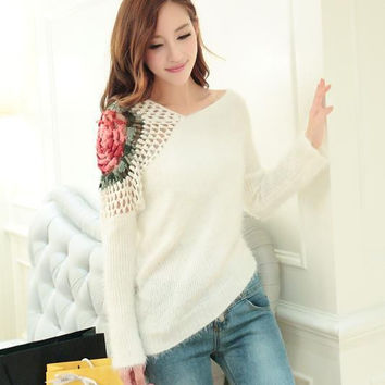 Black white flower hollow out batwing sleeve asymmetric mohair sweater soft pullover coat woman knitted knitwear