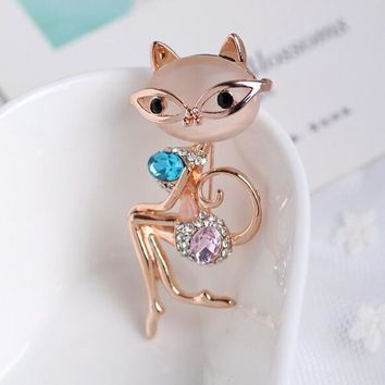Brooches Super Elegant Noble Lady Cat Opal Crystal Collar