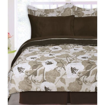 Kids Bedding- 8PC Panola Reversible Bed Set- Chocolate/ Beige/ Ivory -In Full Size