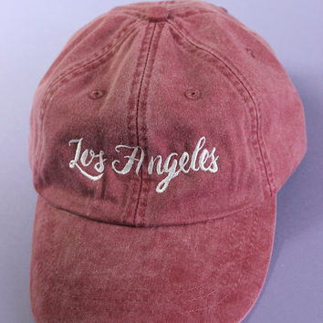 Los Angeles Burgundy/Plum Washed Baseball Cap