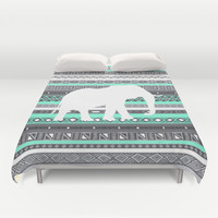 Tiffany Aztec White Elephant Pattern Design Duvet Cover by RexLambo