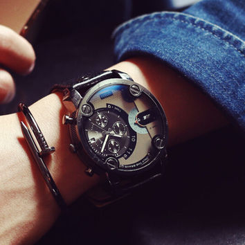 Mens Retro Army Style Leather Watch Unique Watches + Gift Box- 483