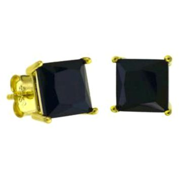 .925 Sterling Silver Gold Casting Setting Princess Cut Black CZ Stud Earrings in 4mm-7mm Square