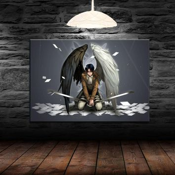 Cool Attack on Titan Modern Canvas Painting Home Decor HD Print 1 Pieces Anime  Poster For Living Room Wall Art Levi Ackerman Picture AT_90_11