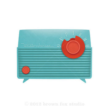 Aqua Turquoise and Coral Red Westinghouse Radio 11x14, Vintage Retro Art Print, Modern, Back to School Dorm Art Decor, Music Lovers, Nursery