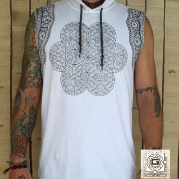 Tribal Seed White / Organic Cotton / Unisex / Mens shirt / Sleeveless / Hooded / Sacred geometry / Flower of life